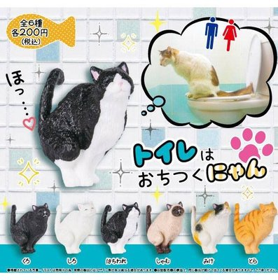 【一手動漫】 現貨 日本正版 轉蛋 上廁所的貓咪 冷靜貓蹲馬桶 全6種 整套販售