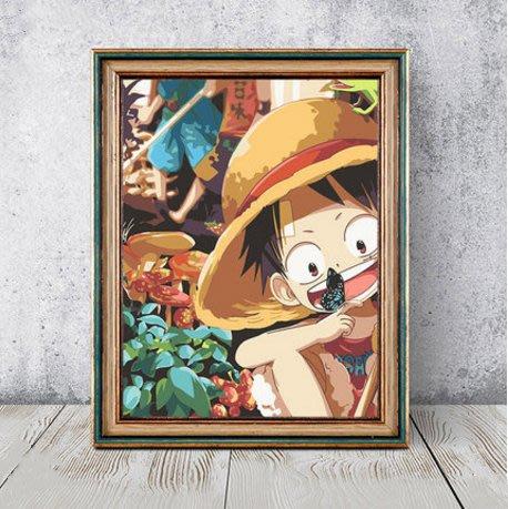 數字油彩畫diy油畫卡通動漫海賊王解壓手工填色手繪裝飾畫