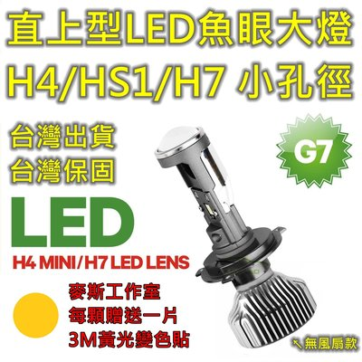 G7直上型LED魚眼大燈,H4/HS1/H17/H7燈泡,小孔徑26mm。雷霆S 新迪爵 BUBU MANY VESPA