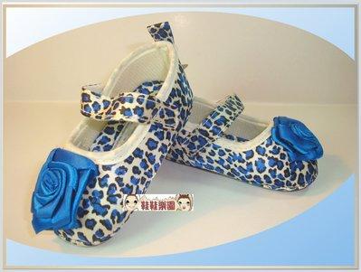 鞋鞋樂園~寶藍豹紋學步鞋~寶寶公主鞋~嬰兒鞋~寶寶防滑鞋~軟底鞋~粘扣設計~彌月送禮~特價1雙125