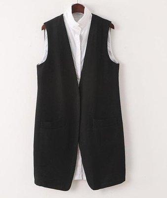 【An Ju Shop】外單 歐美西班牙風 單扣開襟 OL無袖棉質襯衫式假兩件中長款馬甲上衣~OI112906