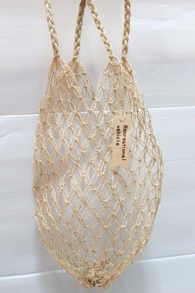 天使熊小鋪~日本ZAKKA雜貨creational vehicle麻編手提袋 手工編織購物袋 可當擺飾 吊飾~