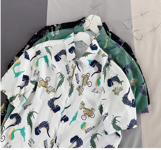 FINDSENSE X  男士 薄款 短袖 襯衫 夏季男塗鴉花上衣情侶 圖案襯衣潮襯衫
