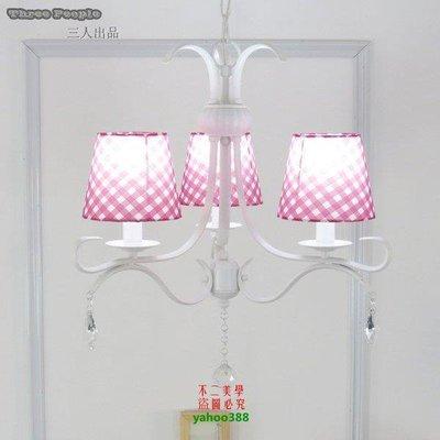 【美學】田園吊燈美式餐廳燈具臥室客廳燈韓式吊燈鐵藝904MX_1802