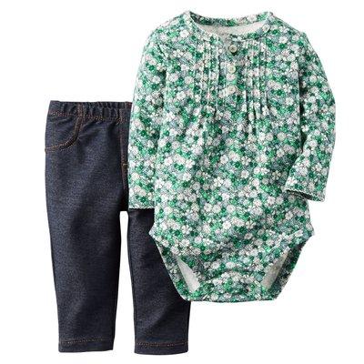 [[W&R]] ((0-24m)) Carter's 二件組綠色小花長袖包屁衣+仿單寧褲 18m 台中市