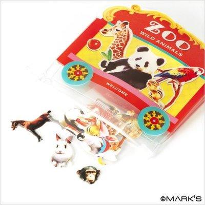【日本空運 MARK'S Flake 野生動物園 企鵝 斑馬 松鼠 無尾熊 可愛夾鍊袋+立體貼紙】*YOOWOO*