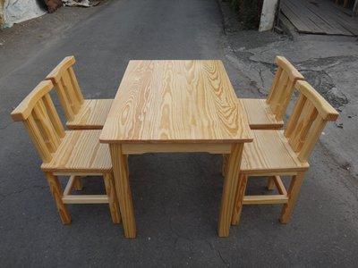 A053 {崙頂傳統原木家具行}~杉木實木固定桌配杉木靠背餐椅 跟 接受訂作 訂色 多款選擇