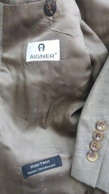 歐碼48德國製 AIGNER 愛格納灰棕色單排牛角扣西裝 與Zegna 同級布料