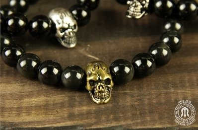 (I LOVE樂多)METALIZE Skulls 8MM Beaded Bracelet 骷髏8MM串珠手鍊 黑