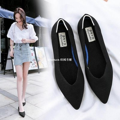 litterluck-韓國專櫃34小碼32 33平底針織豆豆鞋單鞋女夏黑色工作鞋大碼女鞋41 43瓢鞋