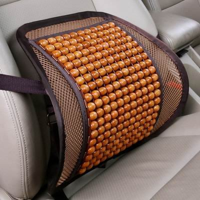【楓木木珠冰絲腰靠-41*41cm-1個/組】車內室內座椅通用舒適透氣背部按摩效果靠背腰墊-527004