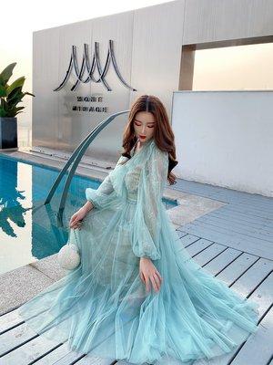 Riz collection高端女裝 2020春季新款時尚長裙法式收腰氣質網紗復古長袖連身裙女