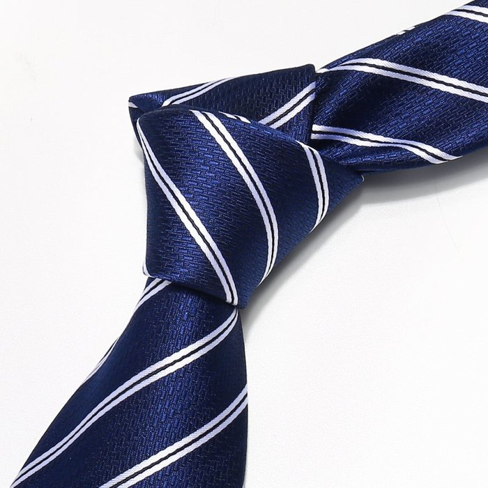 男裝時尚領帶男正裝商務8cm學生領帶藍色條紋禮盒裝
