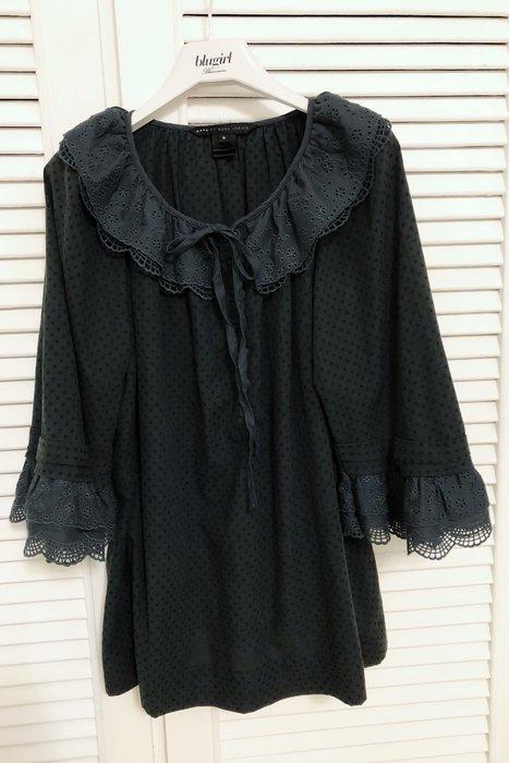 Marc Jacobs 普魯士藍蕾絲領洞洞純棉A-Line後繫蝴蝶結傘衣