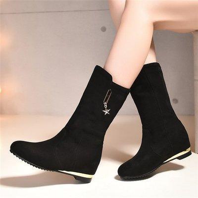 ~Linda~韓版內增高 中筒靴秋冬馬丁靴小碼黑色磨砂皮中靴平底40大碼43女靴