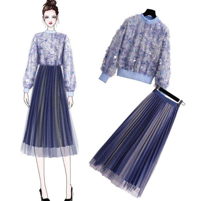 網紗裙 毛衣 針織衫 網紅新款兩件套裝 甜美慵懶風毛衣加配紗裙子女洋氣衛衣搭半身裙—莎芭