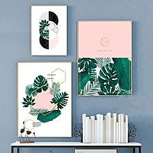ins北歐風格裝飾畫畫芯畫布高清植物幾何圖形葉子微噴打印畫芯(不含框)