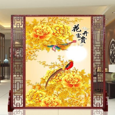 ZIHOPE 訂製 花開富貴客廳酒店中式座屏辦公室風水屏風隔斷實木訂製九魚圖玄關ZI812