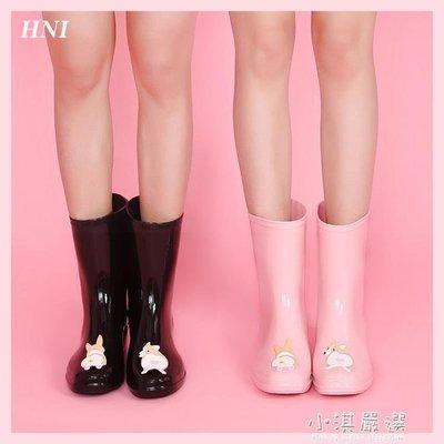 哆啦本鋪 HNI柯基可愛大人中筒水靴雨鞋韓國水鞋防滑膠鞋 D655