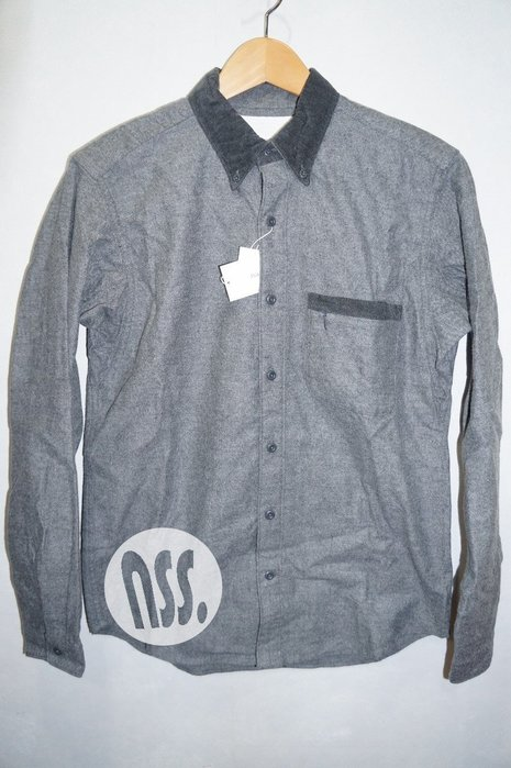 「NSS』Nanamica Button Down Flannel Shirt 長袖襯衫 灰 S