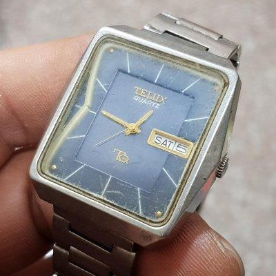 日本 TELUX 漂亮 大頭錶 男錶 極品☆ 石英錶 這顆40年有了 不會走了 零件錶 隨意賣 另有 機械錶 老錶 滿天星 E03