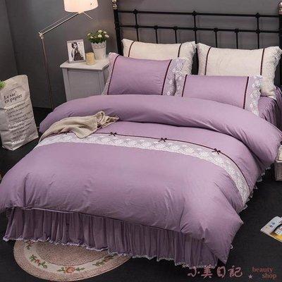 夏季公主風簡約四件套純棉2.0m雙人被套蕾絲床罩 YX2427』