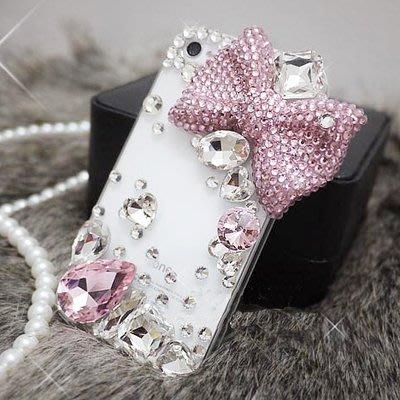小宇宙 甜美粉色蝴蝶結 Iphone X I6S I7 Plus I8 Plus 貼鑽 水鑽全包手機殼 保護套