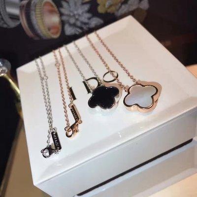 VCA Van Cleef & Arpels 18k gold Necklace 白貝母 黑瑪瑙 頸鏈 頸鍊四葉草吊飾