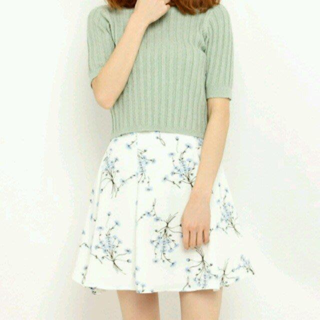 Snidel正品 清新小雛菊圓裙 白色花朵短裙 日本專櫃 1號(M)