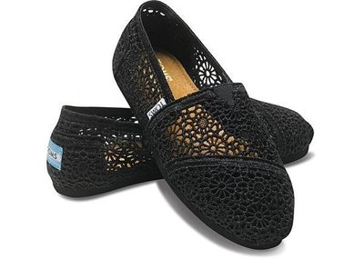 ☆╮A&T-TOMS╭☆專賣美國品牌TOMS BLACK CROCHET蕾絲簍空款【女-BLACK黑】現貨+預購