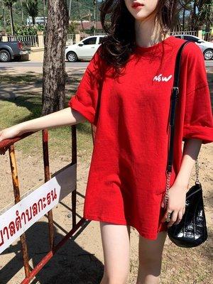 哆啦本鋪 2019早春新款女裝洋氣百搭半袖上衣 韓版學生BF紅色短袖T恤女寬松 D655