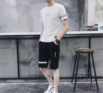 時尚男裝 2019夏季新款男式套裝短袖T恤短褲子男士休閑運動服男式休閑套裝