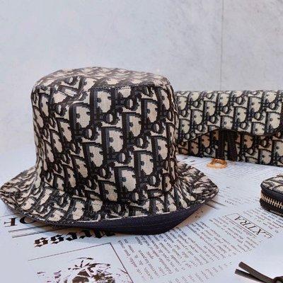 Dior TEDDY D CD OBLIQUE 藍色 緹花 老花 雙面 窄帽 漁夫帽 現貨