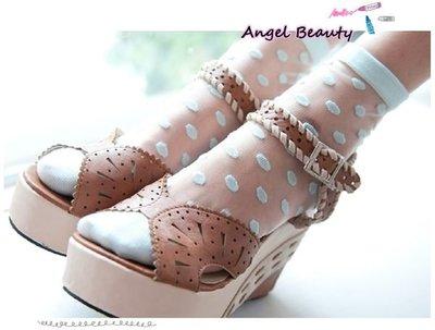 °ο Angel Beauty ο°【AS1031】日單 立體刺繡大波點透明蕾絲短襪‧4色(現 預)