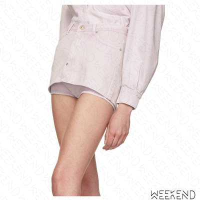 【WEEKEND】 PUSHBUTTON 假兩件 牛仔 熱褲 褲裙 白色