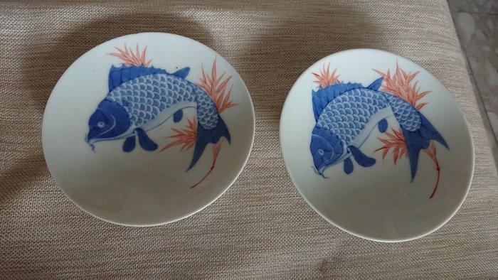 日本 大正 魚盤一對