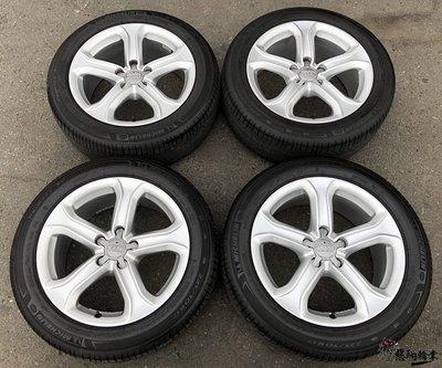 二手中古輪胎鋁圈 奧迪 AUDI 原廠 17吋 5孔112 銀 (含胎) 米其林 225/50-17 A4 A5 B5