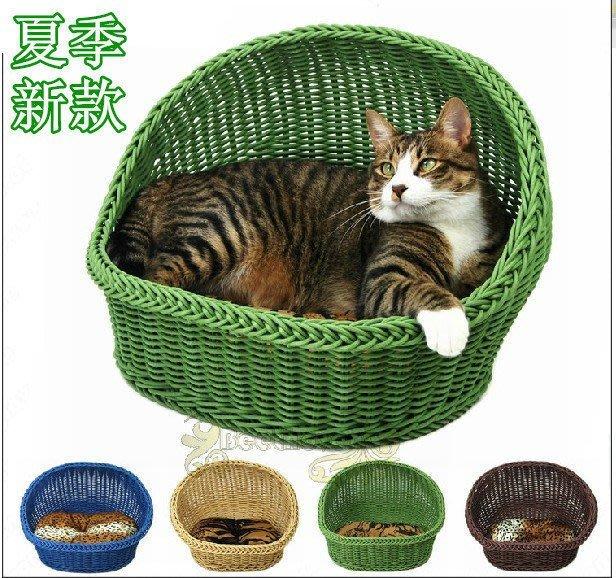 廠家直銷耐用弧形PE環保樹脂仿藤編窩 狗窩 貓窩 寵物窩 夏窩