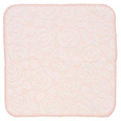 ~~凡爾賽生活精品~~全新日本進口粉紅色玫瑰花刺繡造型純棉小方巾.手帕~日本製