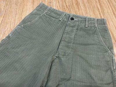 日本製THE REAL McCoy's CIVILIAN 41' Trousers HBT 美軍二戰人字紋綠軍褲 十三星