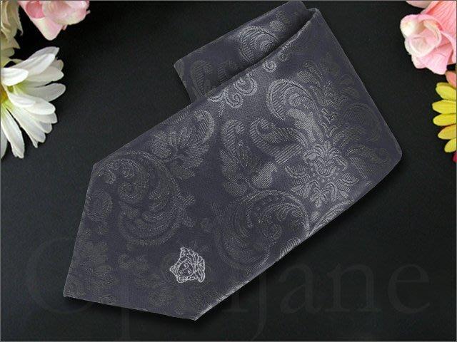 義大利製 Versace Collection Tie 凡賽斯美杜莎圖案灰色純絲手打寬版領帶夜店公關最愛愛Coach包包