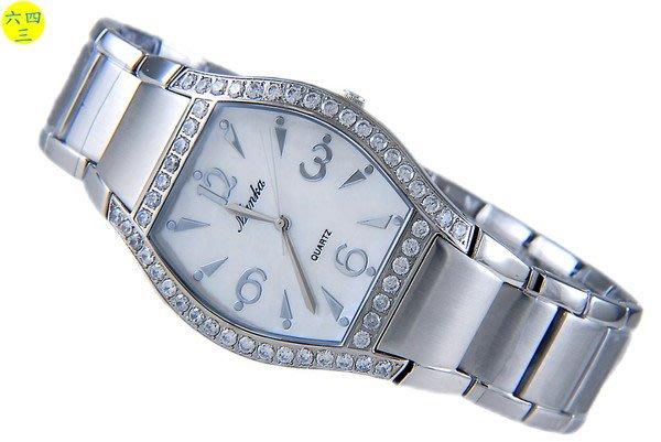 (六四三精品)LOBOR真品)銀色大酒桶鑽錶.全不銹鋼錶殼及錶帶.外框爪鑲晶鑽!!