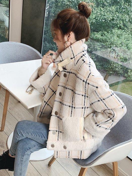 ☆╮薇薇甜心╭☆日.韓賣翻款2018秋冬時尚羊駝毛格子外套S-L