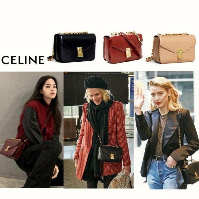 CELINE ► C bag  ( size / M ) 真皮 金屬金鍊 信封包型 小肩背包 斜背包 手拿包 |100%全新真品|  特價!