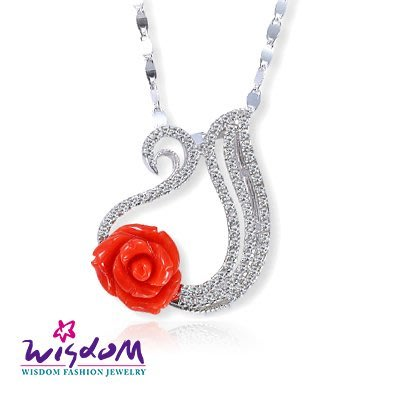 天然海洋紅珊瑚 天鵝玫瑰墜飾(不含鍊)情人節/母親節/生日 送禮/自用 威世登時尚珠寶