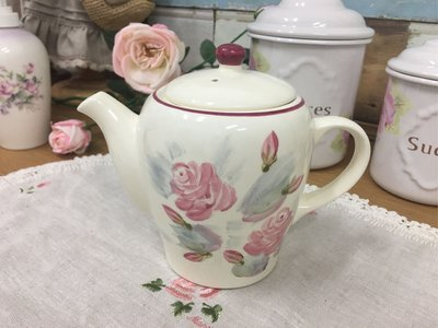 鄉村童話 Many 茶壼 彩繪 玫瑰 日本製