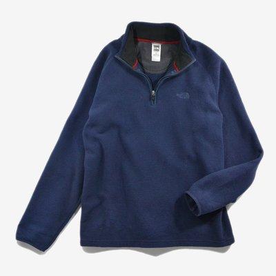 The North Face 深藍 L 定番 刷毛 中層衣 罩衫 Pullover  戶外 TNF smock 玉米格