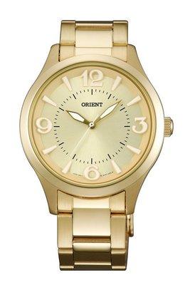 ORIENT 東方錶 SPORTY DESIGN系列 優雅甜心石英錶 鋼帶款 金色 FQC0T002C
