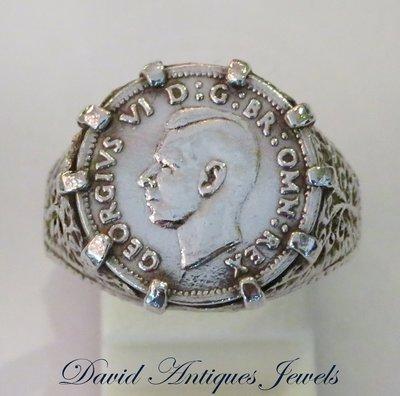 ((天堂鳥)) 新品刊登 King of Ring 1941年 925純銀喬治六世3便士銀幣戒