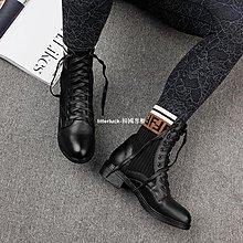 litterluck-韓國專櫃特價 2019冬季新款真皮低跟大碼馬丁靴女41-43秋冬粗跟百搭短靴女